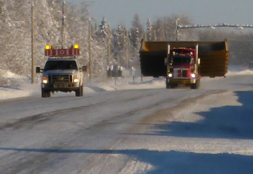 NWT road with trucks